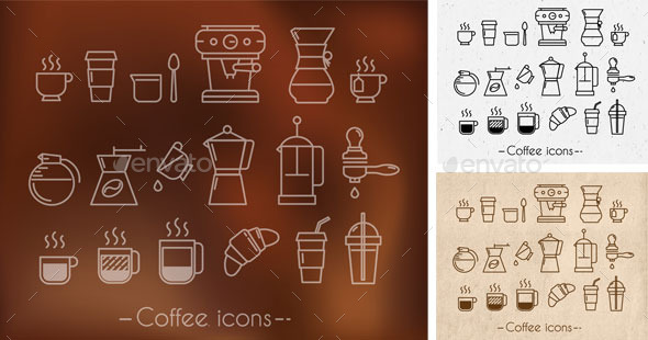 Coffee theme icons - Food Objects