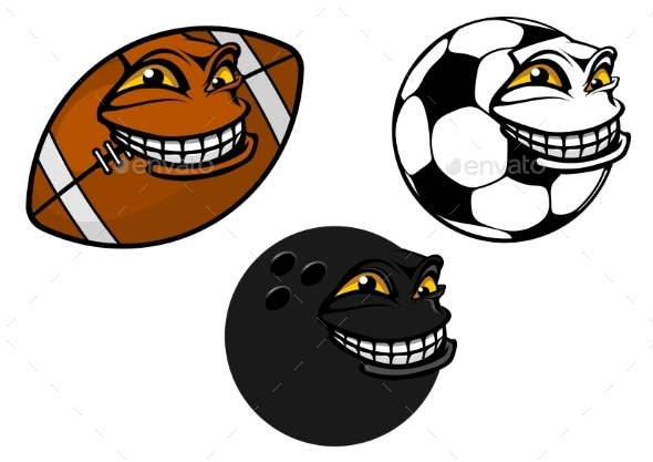 Grinning Cartoon Sport Balls - Miscellaneous Characters