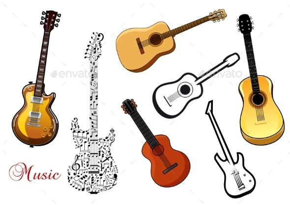 Set of Musical Guitars - Man-made Objects Objects