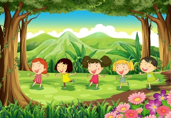 Girls Playing in a Forest  - People Characters