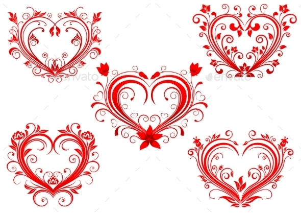 Floral Red Valentine Hearts Set - Valentines Seasons/Holidays