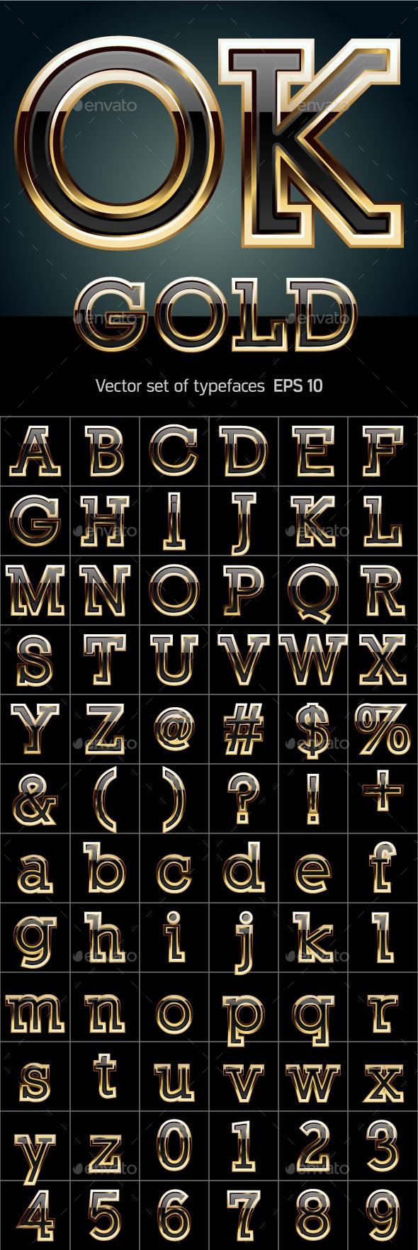 Black Font with Golden Border - Decorative Symbols Decorative