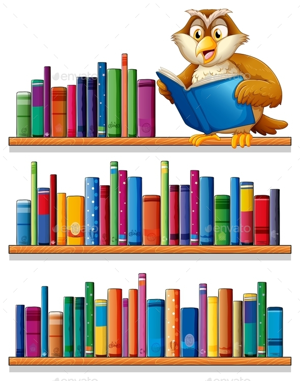 Owl on a Bookshelf  - Animals Characters