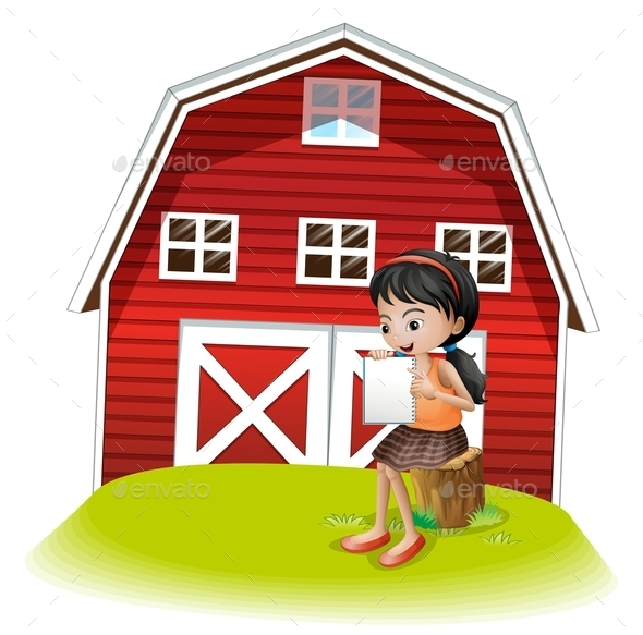 Girl in Front of Barnhouse  - People Characters