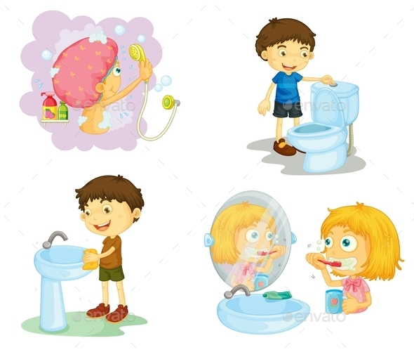kids and Bathroom Accessories - People Characters