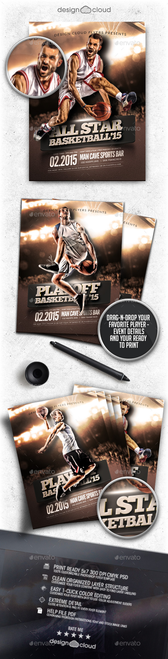 All Star Playoff Basketball Flyer Template - Sports Events