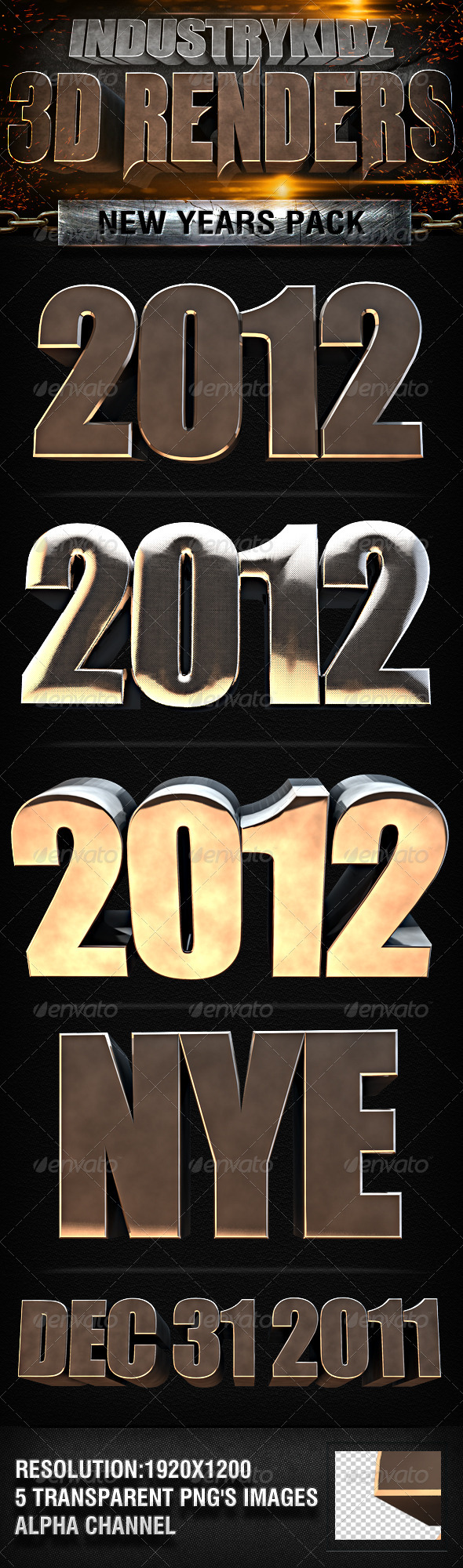 2012 New Year 3d Renders - 3D Renders Graphics