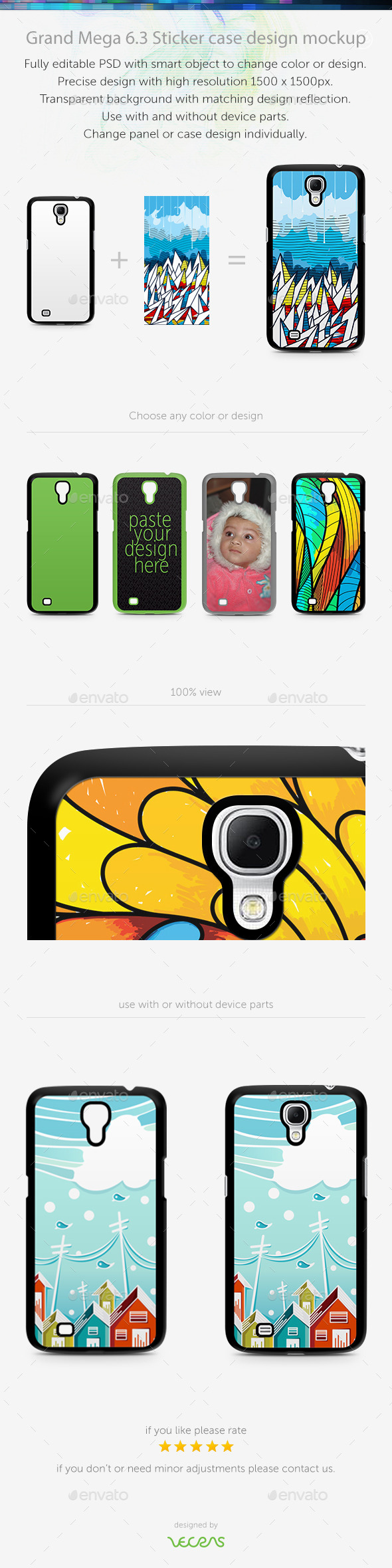Grand Mega 6.3 Sticker Case Design Mockup - Mobile Displays