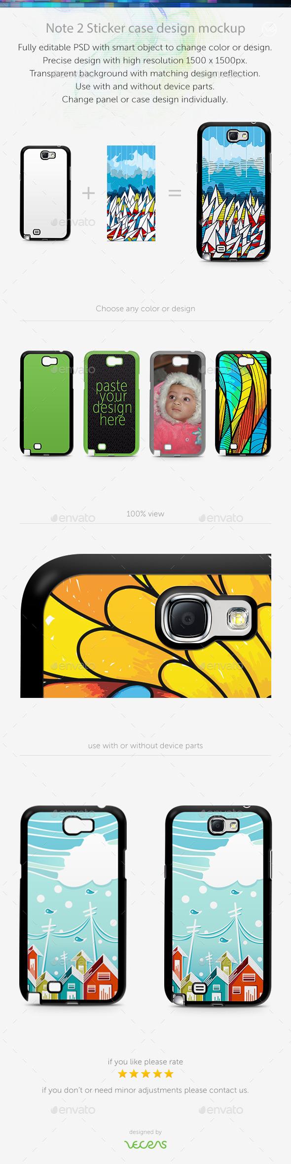 Note 2 Sticker Case Design Mockup - Mobile Displays