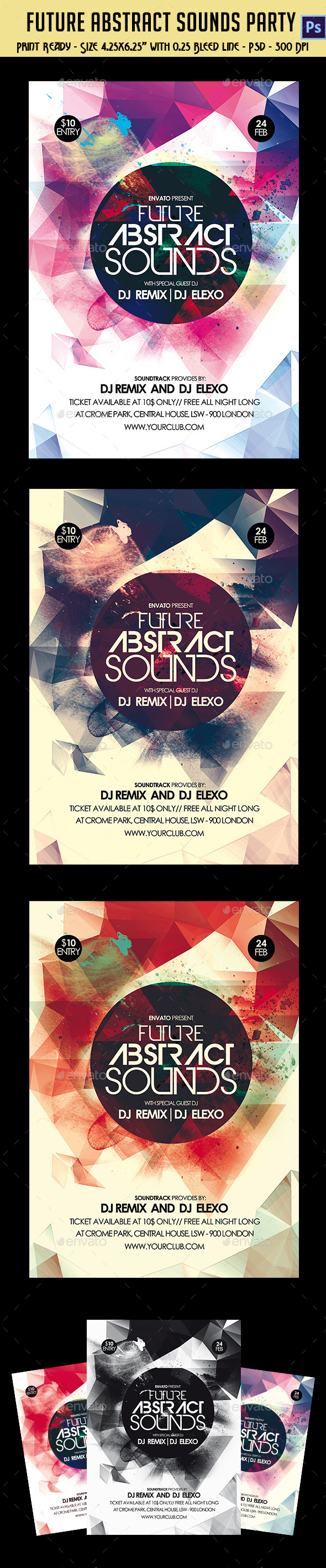 Future Abstract Sounds Party Flyer - Clubs & Parties Events