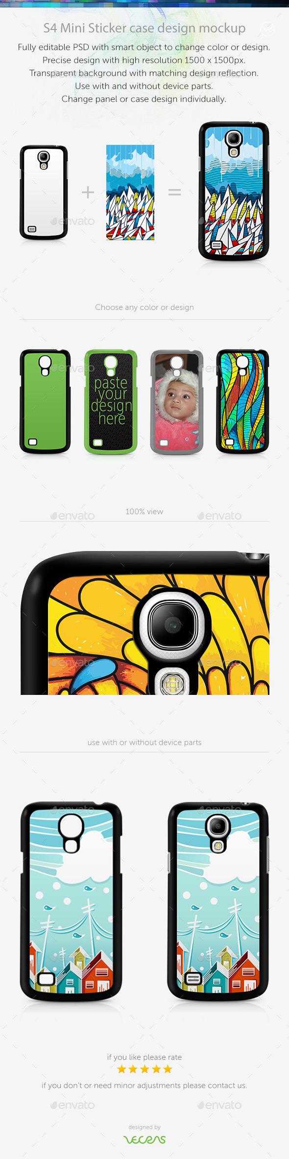 S4 Mini Sticker Case Design Mockup - Mobile Displays