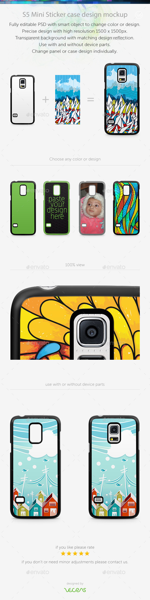 S5 Mini Sticker Case Design Mockup - Mobile Displays