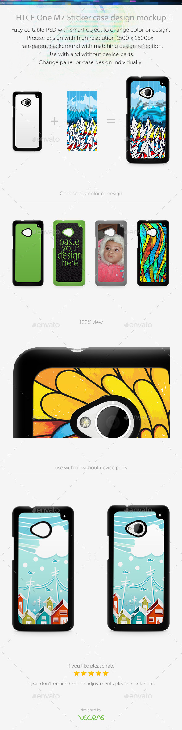 HTCE One M7 Sticker Case Design Mockup - Mobile Displays