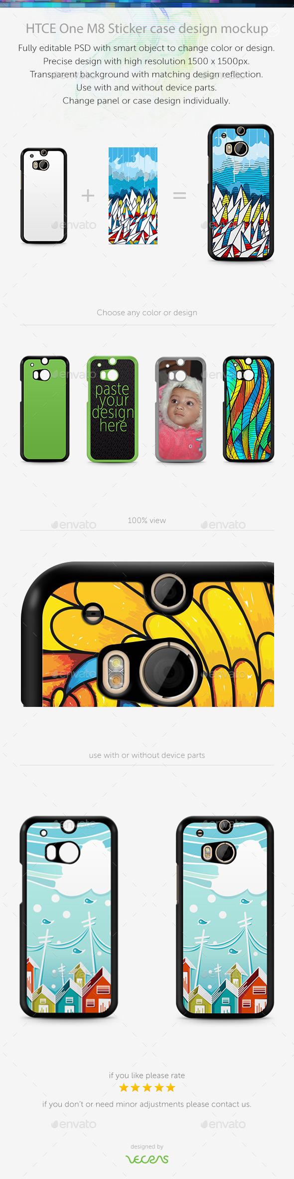 HTCE One M8 Sticker Case Design Mockup - Mobile Displays