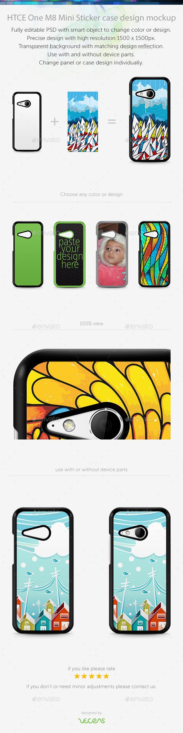 HTCE One M8 Mini Sticker Case Design Mockup
