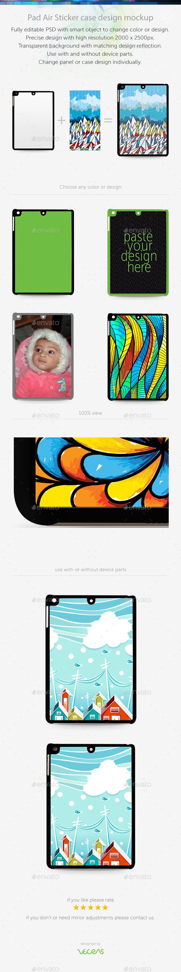 Pad Air Sticker Case Design Mockup - Mobile Displays