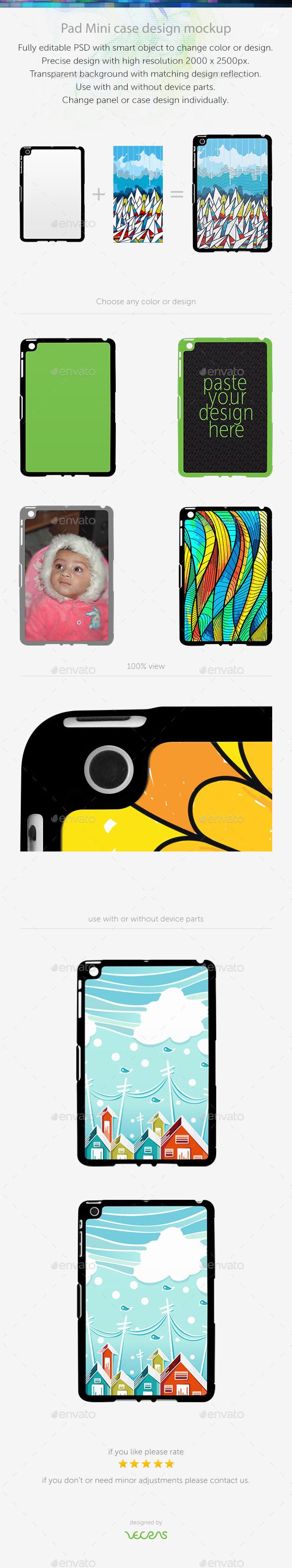 Pad Mini Sticker Case Design Mockup - Mobile Displays