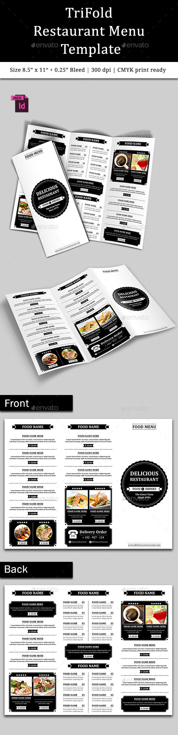 TriFold Restaurant Menu Template Vol. 6 - Food Menus Print Templates