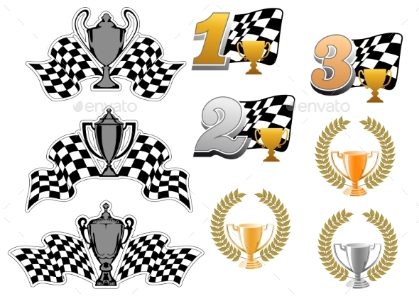 Set of Motor Sport and Racing Icons - Sports/Activity Conceptual