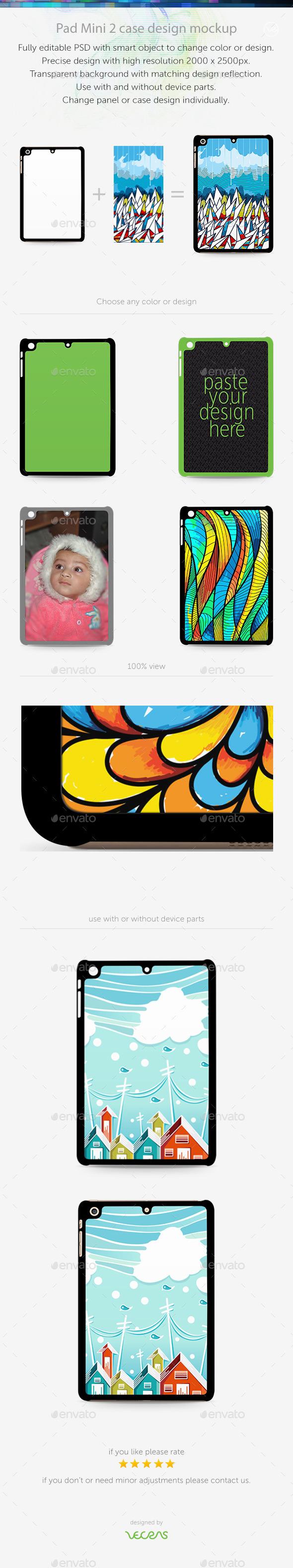 Pad Mini 2 Sticker Case Design Mockup - Mobile Displays