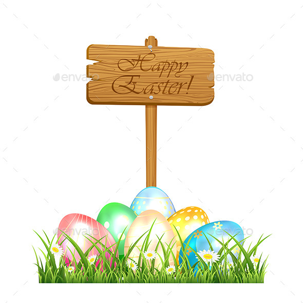 Easter Eggs and Wooden Sign - Seasons Nature