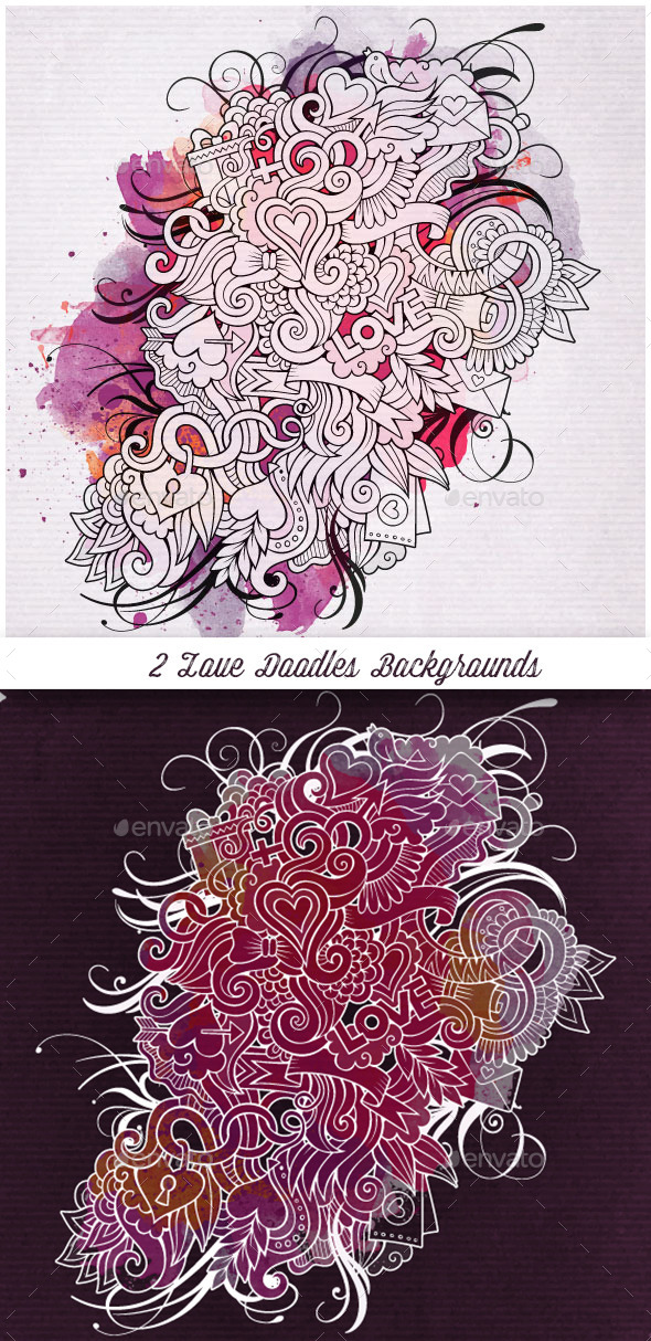 2 Love Doodles Backgrounds - Valentines Seasons/Holidays