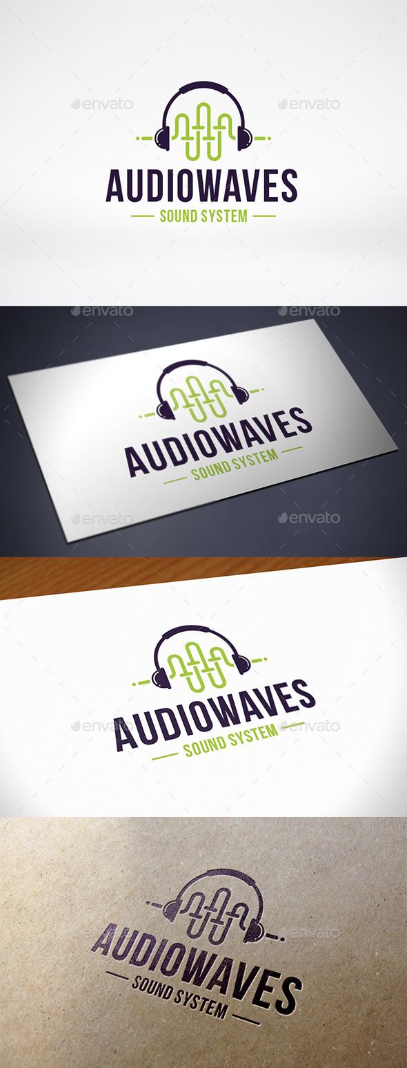 Sound Wave Headphone Logo Template - Symbols Logo Templates
