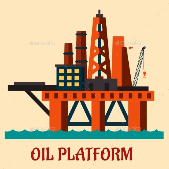 Cartoon Sea Oil Platform - Industries Business