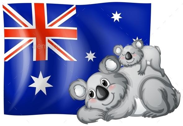Australia Flag - Animals Characters