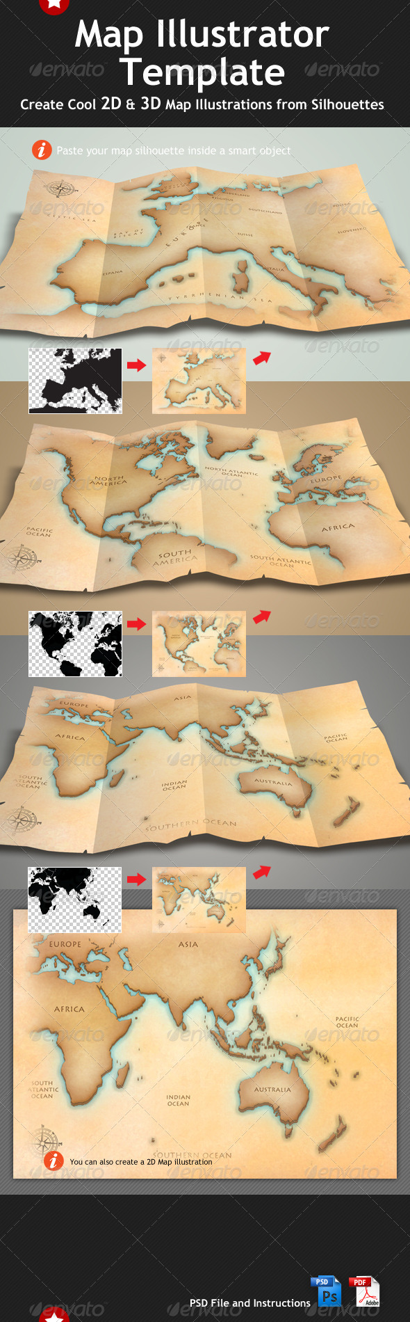 Map Illustrator & Mock Up Template - Miscellaneous Print