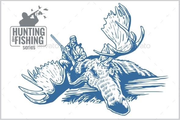 Hunting and Fishing Vintage Emblem - Tattoos Vectors