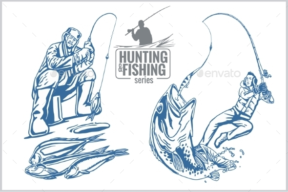 Hunting and Fishing Vintage Emblem - Tattoos Vectors