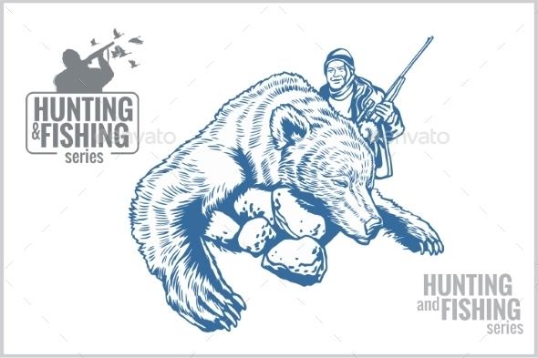 Hunter and Bear Vintage Illustration - Tattoos Vectors