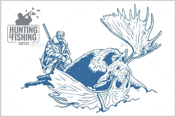Hunter and Elk - Vintage Illustration - Tattoos Vectors