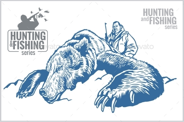 Hunter and Bear - Vintage Illustration - Tattoos Vectors