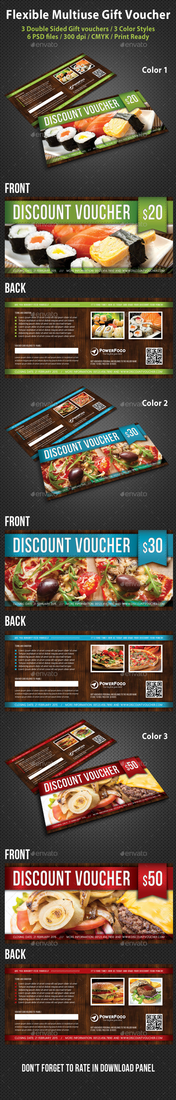 Flexible Multiuse Gift Voucher V02 - Cards & Invites Print Templates