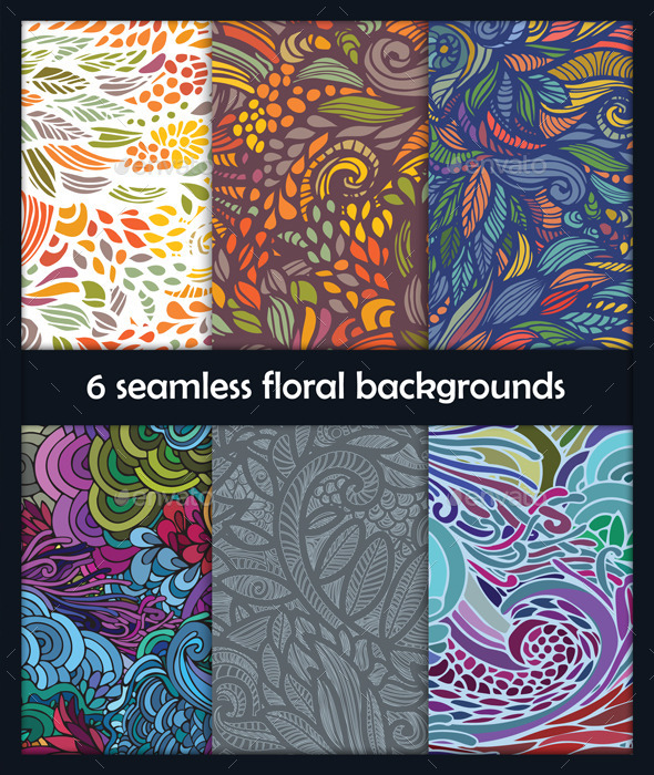 6 Seamless Floral Backgrounds - Flourishes / Swirls Decorative