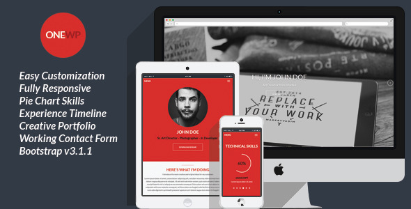 One WordPress – Responsive, Personal Resume