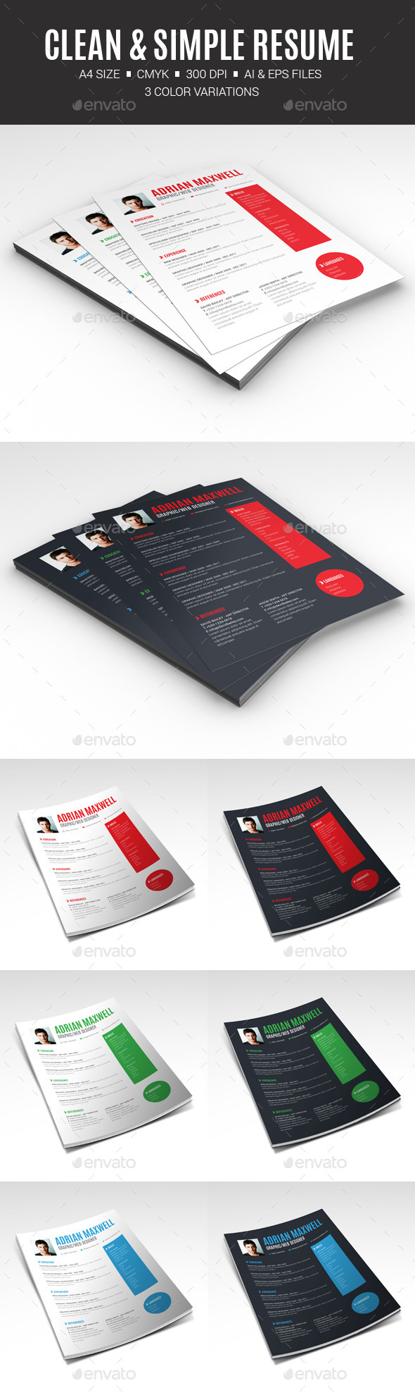 Clean & Simple Resume - Resumes Stationery