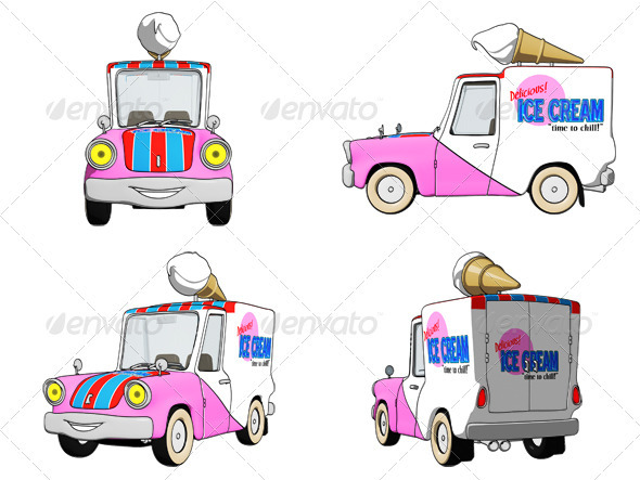 Cartoon Ice Cream Truck - Objects Illustrations