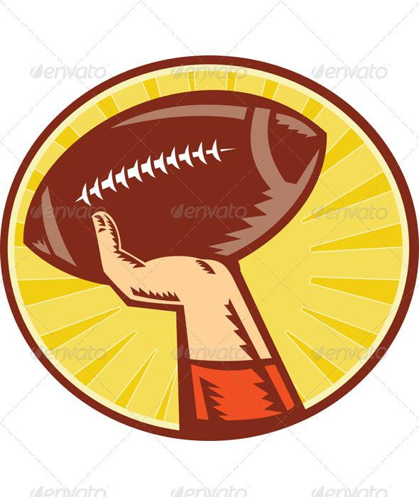 American Football Player Hand Throwing Ball Retro - Sports/Activity Conceptual