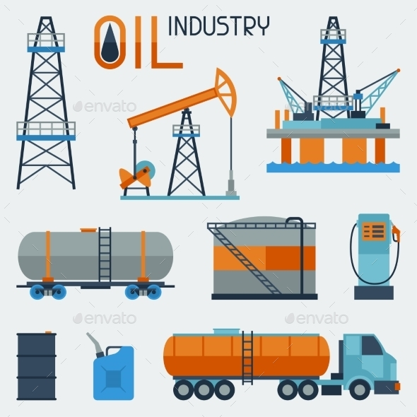 Industrial Set of Oil and Petrol Icons  - Industries Business