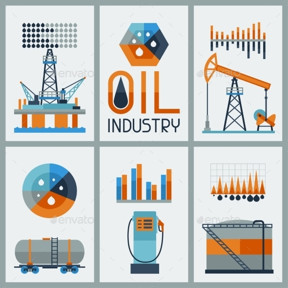 Industrial Infographic Design with Oil - Industries Business