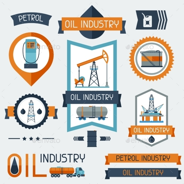 Industrial Badges with Oil and Petrol Icons - Industries Business