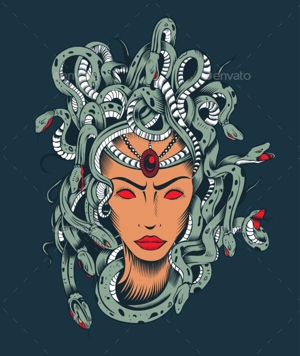 Illustration of Medusa Gorgon Head. - People Characters