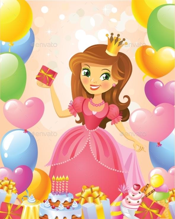 Happy Birthday Princess Greeting Card  - Birthdays Seasons/Holidays