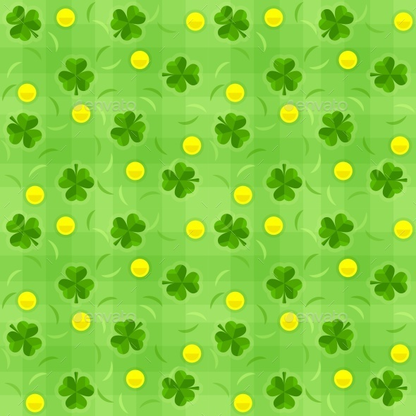 Saint Patricks Day Shamrock and Gold Coins - Patterns Decorative