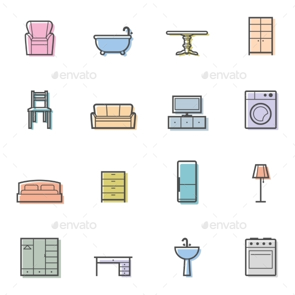 Home Furniture Icons - Man-made Objects Objects