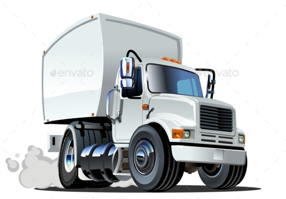 Cartoon Delivery Cargo Truck - Man-made Objects Objects