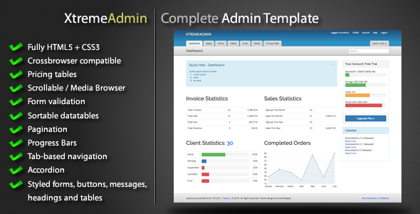 Free Download XtremeAdmin - Complete Admin Template Nulled Latest Version